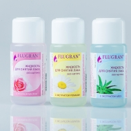 FLUGRAN Жидкость для снятия лака 50мл (алоэ, ромашка, розовое масло) без ацетона