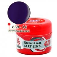 Цветной гель 4D ART LINE №14, цв. пурпурный ирис 5 гр