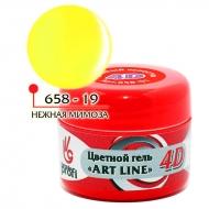 Цветной гель 4D ART LINE №19, цв. нежная мимоза 5 гр
