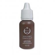 """Пигмент для перманентного татуажа цв.коричневый . Brown """"Bio Touch""""  15мл. Кремовая ,плотная текстура и насыщенный цвет."""