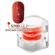 Цветная акриловая пудра ФП красная с глитером № 1.1, 3гр